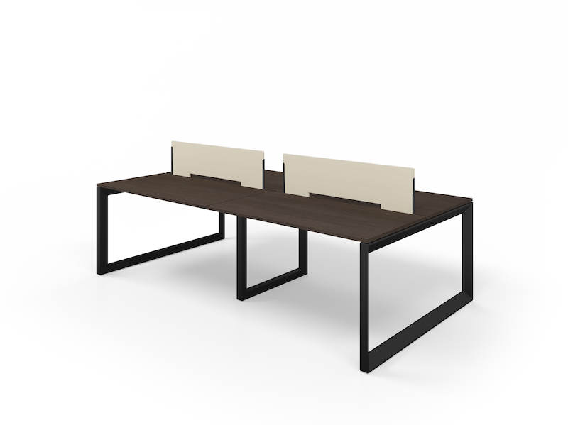 Pivit Benching with Matte Black Legs and Cafe Top   Fabric Screens (Chalk)