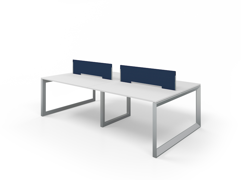 Pivit Benching with Silver Legs and White Top | Fabric Screens (Nautica)
