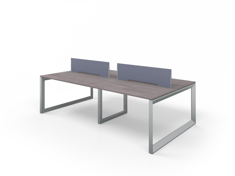 Pivit Benching with Silver Legs and Grey Ash Top | Fabric Screens (Sport Koi)