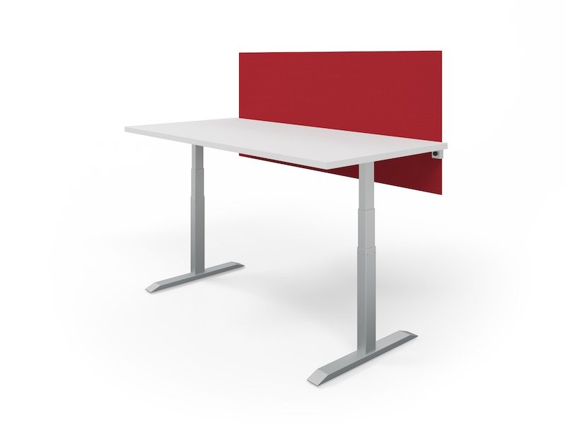 HiLo Table in Silver with White Top and Red Screen (with Universal Clamp)