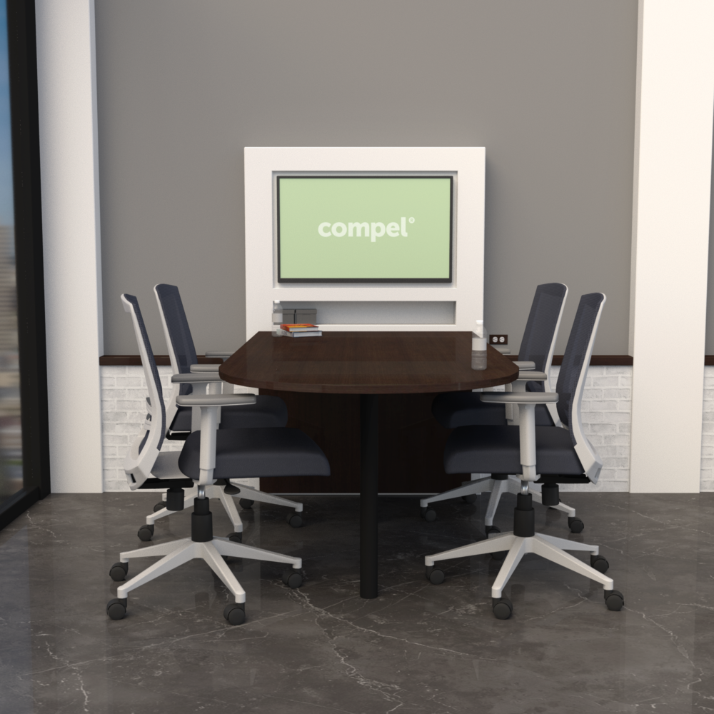 Pivit Media Table in Cafe laminate with Derby in Grey