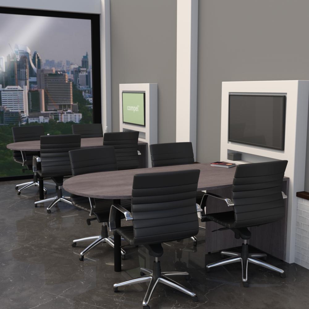 Pivit Media Table in Grey Ash laminate with Mojo Luxe in Jet