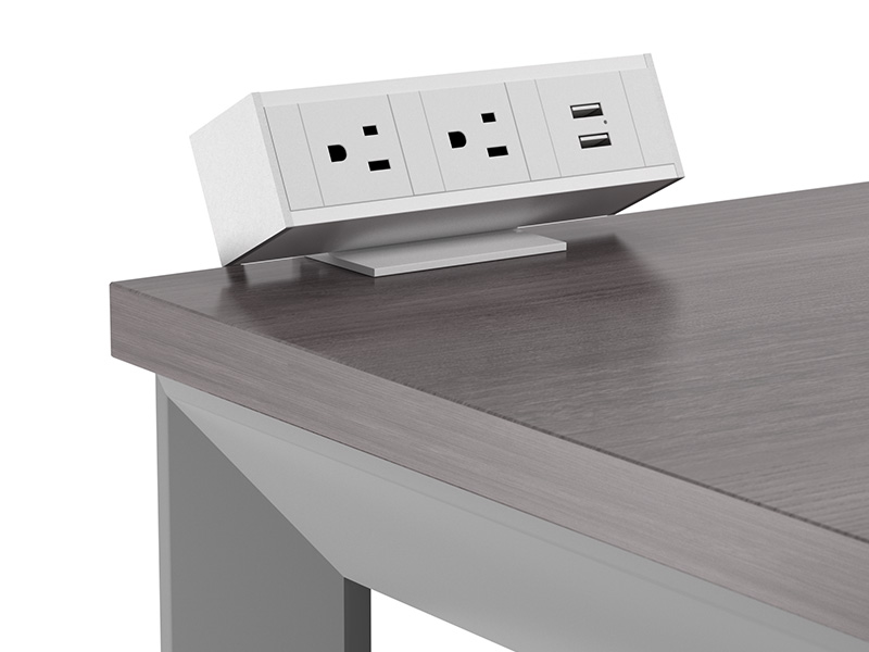 Clamp On Power Unit in White | Pivit Open Frame Desk