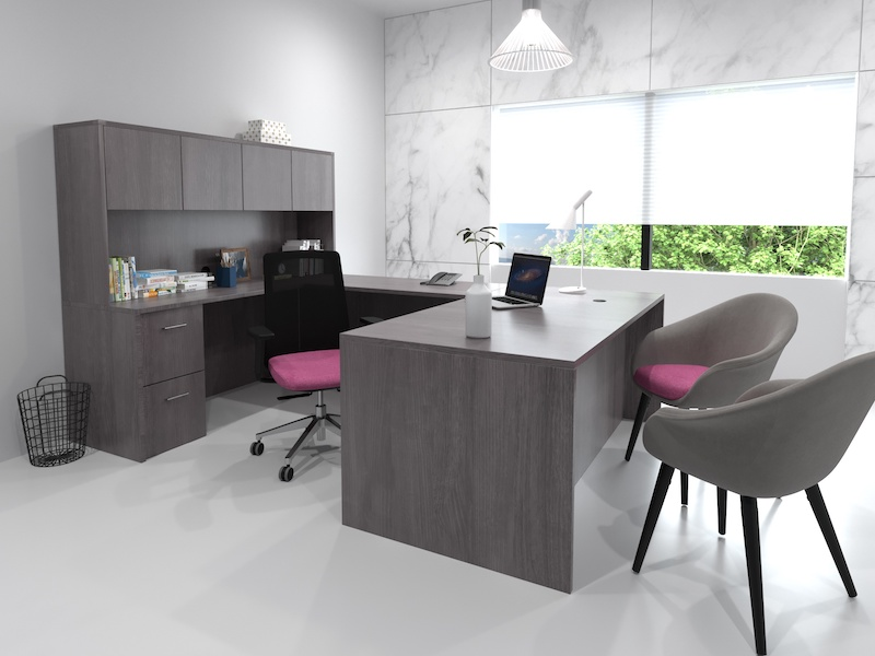 Pivit Full Panel Desk (Grey Ash)  |  Bravo Task Chair (Faux Felt Berry)