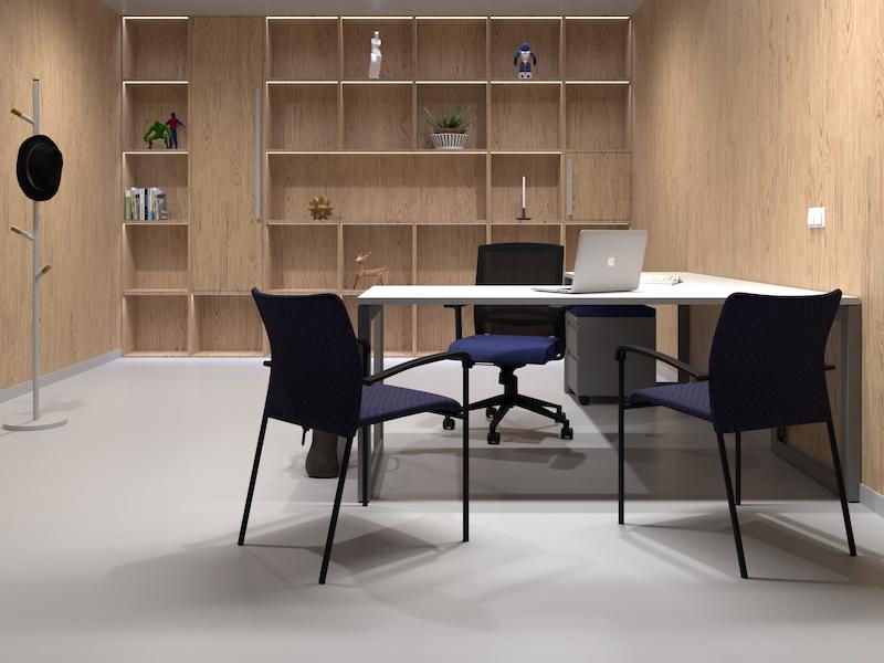 Pivit Open Frame Desk (Basic White/Silver Base) | Derby Task Chair (Flexi Nautical)