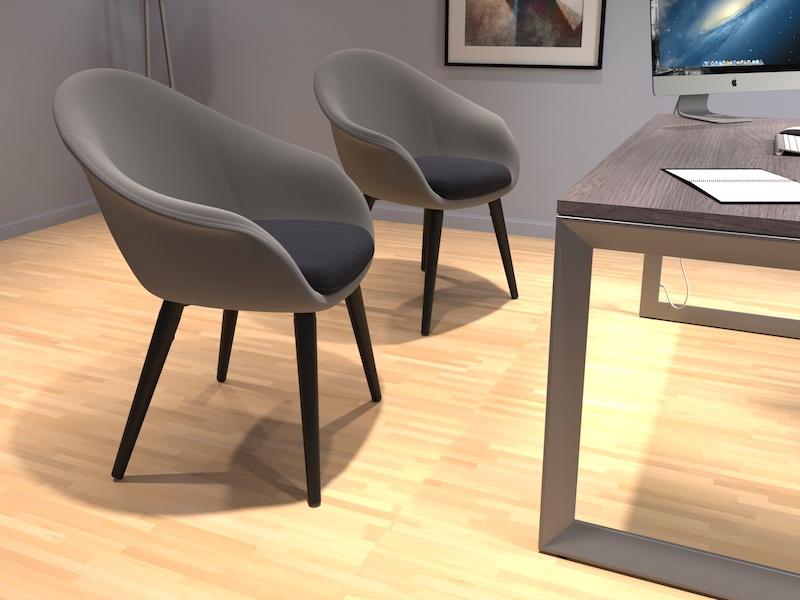 Pivit Open Frame Desk (Grey Ash/Silver Base) | Lark Lounge Seating (Stone/Black)