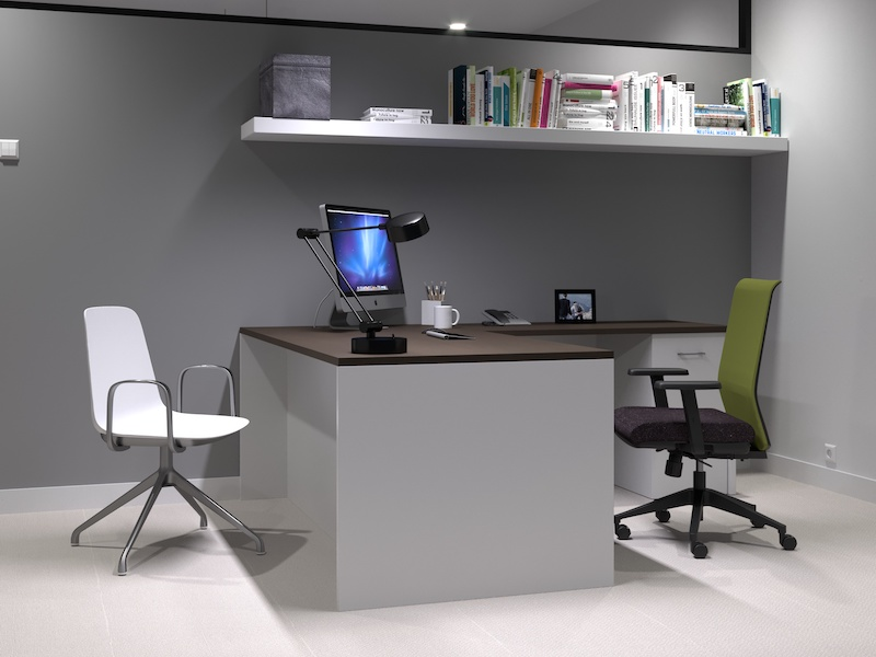 Pivit Full Panel Desk (Café/Grey Ash) | Lucky Task Chair (Avocado/Syntax Asphalt)