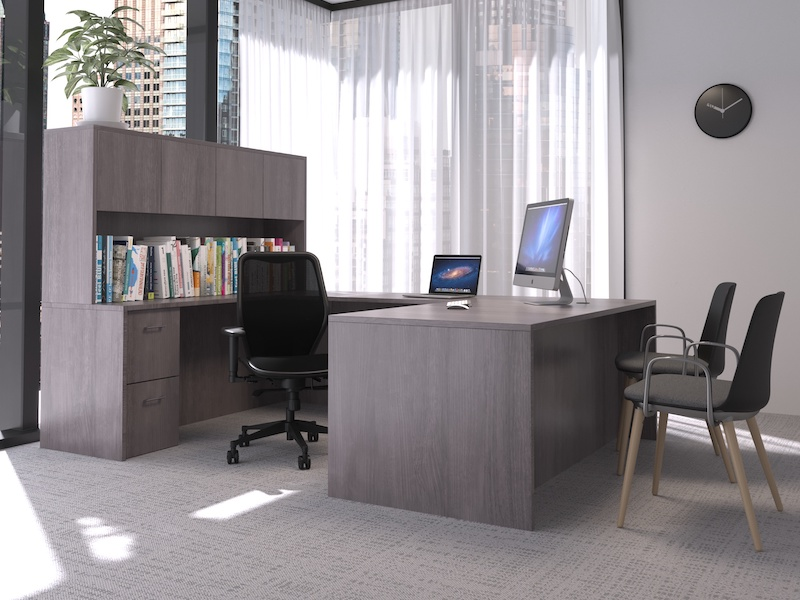 Pivit Full Panel Desk (Grey Ash) | Net Task Chair