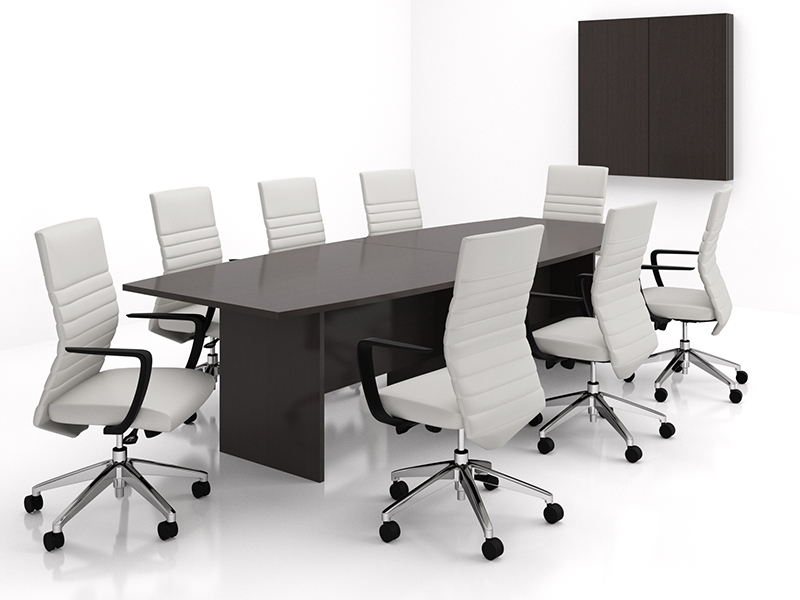 Crescendo Conference Table (Mocha) | Maxim LT Conference (Frost Faux Leather)