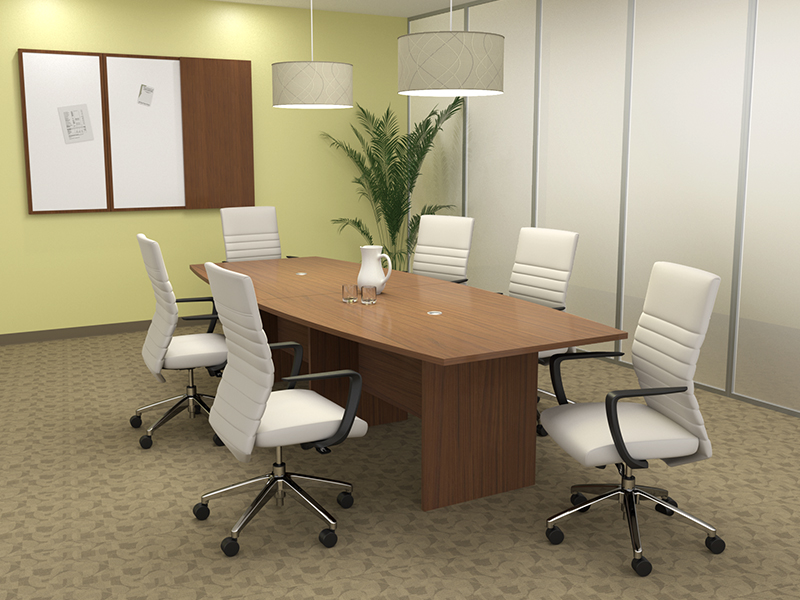 Crescendo Conference Table (Walnut) | Maxim LT Conference (Frost Faux Leather)