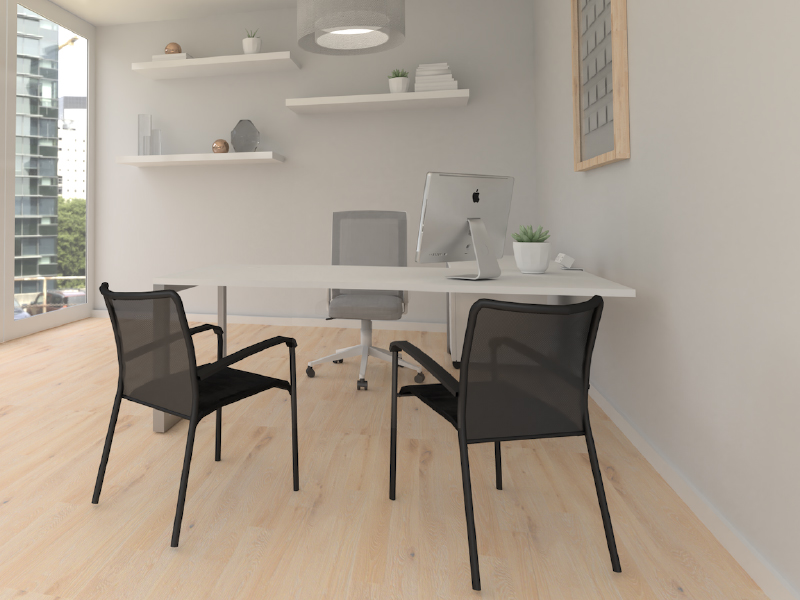 Derby Task Chair in White Frame with Medium Grey Mesh Back and Medium Grey Seat Upholstery | Pivit Open Frame Conference Table | Match Chairs | Clamp-on Power
