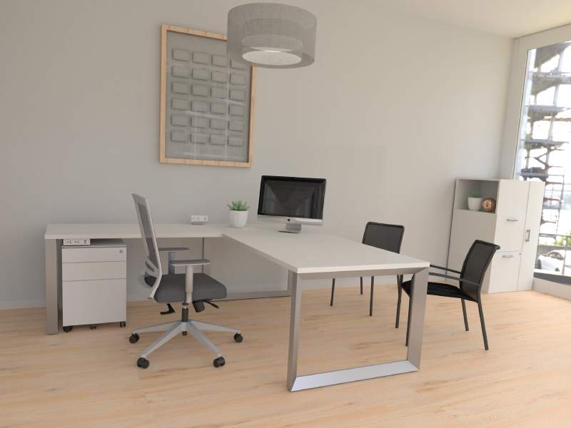 Grey Derby | Pivit Open Frame Desk Set | Match Chairs | Undermount Power