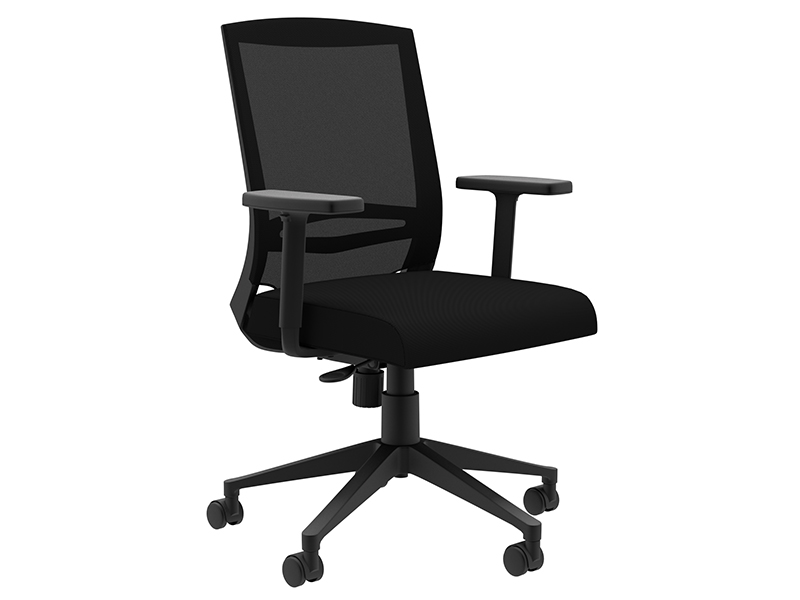 Derby Task Chair in Black Frame with Black Mesh Back and Black Seat Upholstery