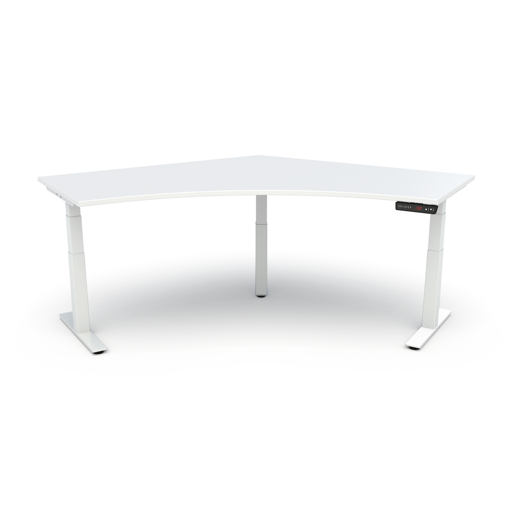 HiLo 3-Leg Base in White with 120 Degree Worksurface