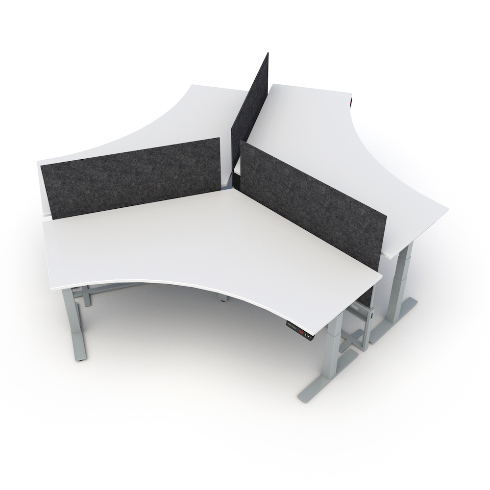 HiLo 3-Leg Base in Silver with 120 Degree Worksurface | HiLo Hub