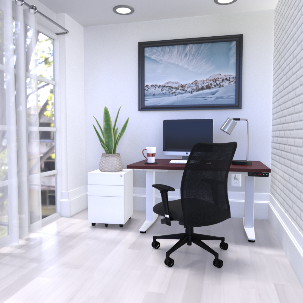 HiLo 2L in White w/ American Cherry Worksurface | Argos Task
