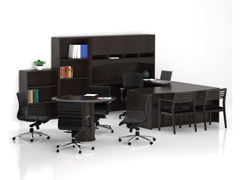Insignia U Shape Desk (Mocha Cherry) | Maxim Task Seating | Strata Guest Seating | Mojo Conference Chair