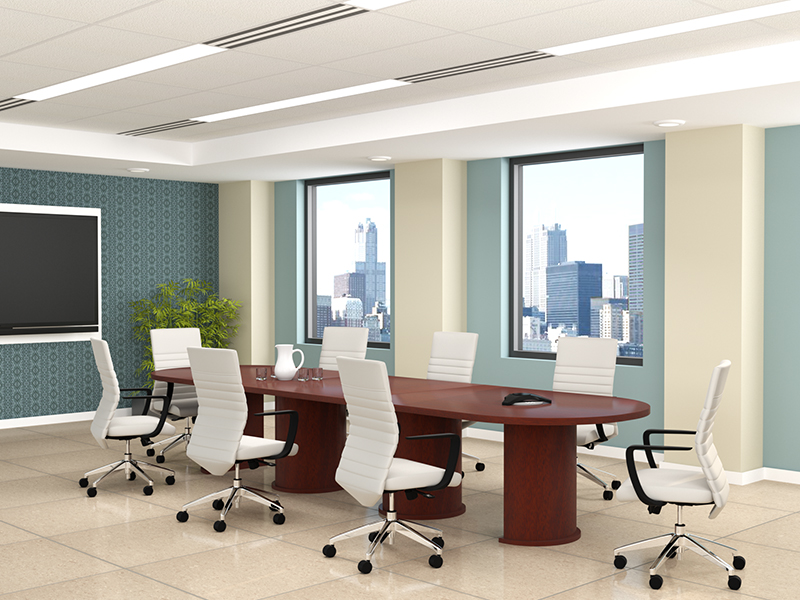 Insignia Conference Table (Luna Cherry) | Maxim LT Conference (Frost Faux Leather)