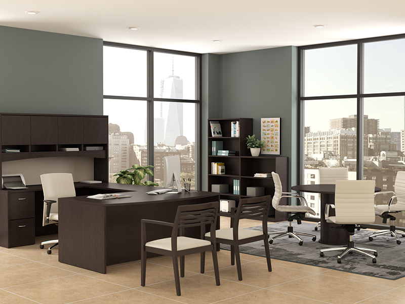 Insignia U Shape Desk (Mocha Cherry) | Pinnacle Task Seating | Strata Guest Chair | Mojo Conference Chair