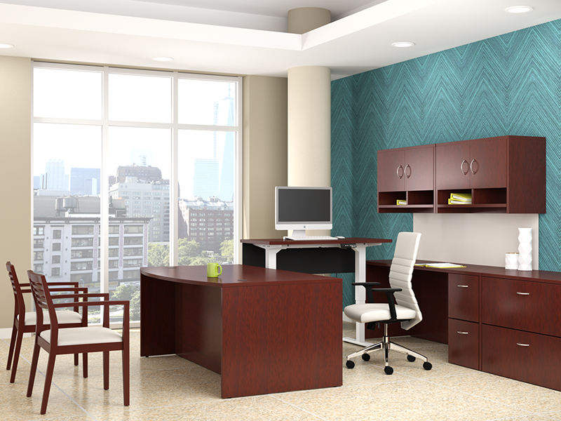 Insignia U Shape Desk with Hilo Bridge (Luna Cherry) | Maxim LT Task Seating | Strata Guest Chair