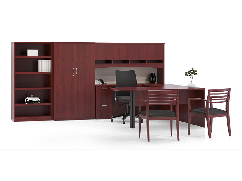 Insignia D Top Desk (Luna Cherry) | Argos Task Seating | Strata Guest Chair