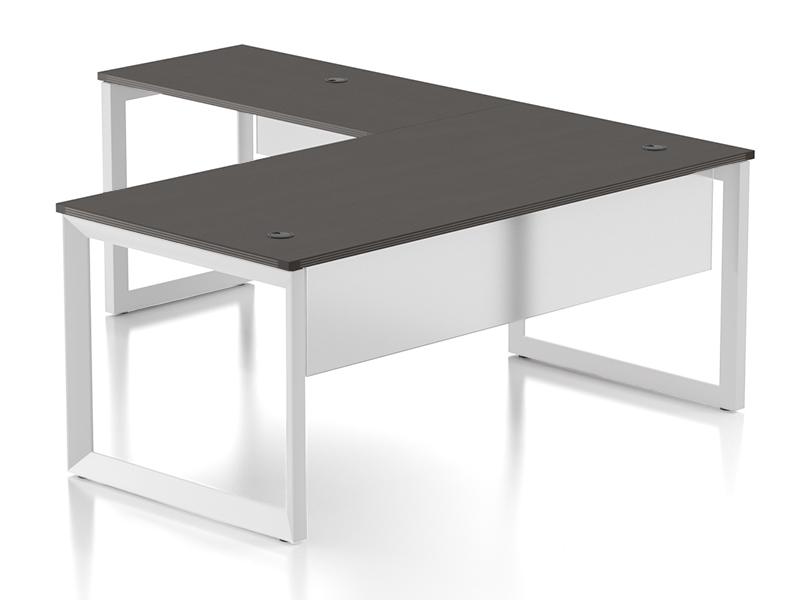 Pivit L-shaped Open Frame Desk With Modesty Panel (Café/White Base)
