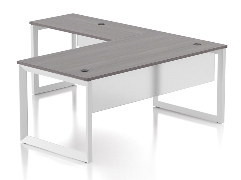 Pivit L-shaped Open Frame Desk With Modesty Panel (Grey Ash/White Base)