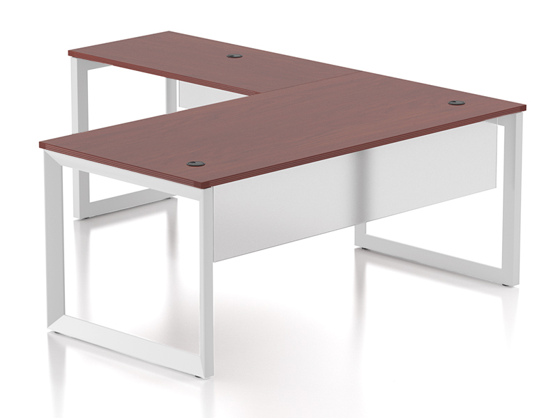 Pivit L-shaped Open Frame Desk With Modesty Panel  (American Cherry/White Base)
