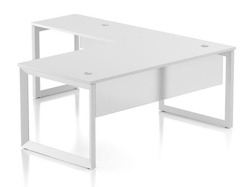 Pivit L-shaped Open Frame Desk With Modesty Panel (White/White Base)