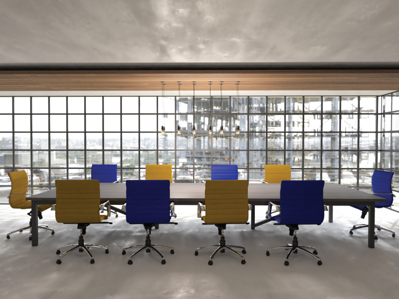 Mojo Hex Conference Chairs in Citrine and Sapphire