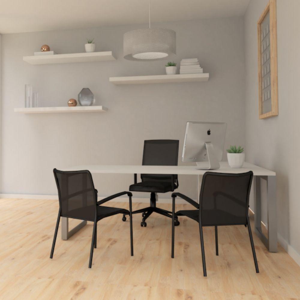 Pivit Open Frame Desk (White/Silver Base) | Derby Task Chair |  Match in Black