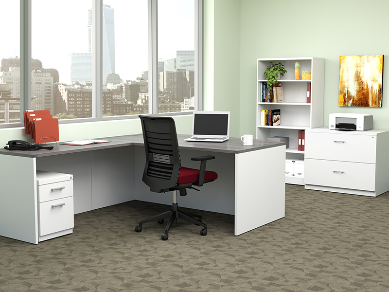 Lucky Task Chair (Flexi Red) | Pivit Full Panel Desking (Grey Ash/Basic White)