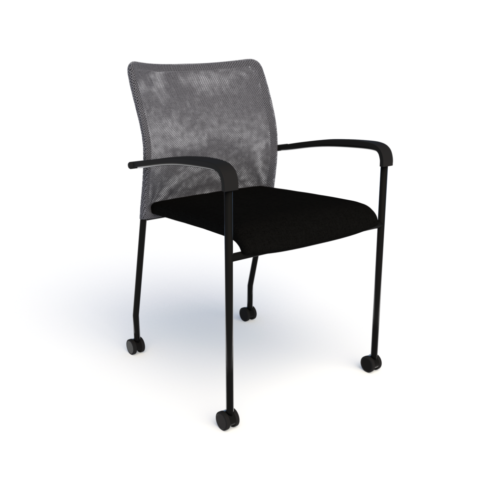 Match Chair (Mobile) in Black with Steel Mesh
