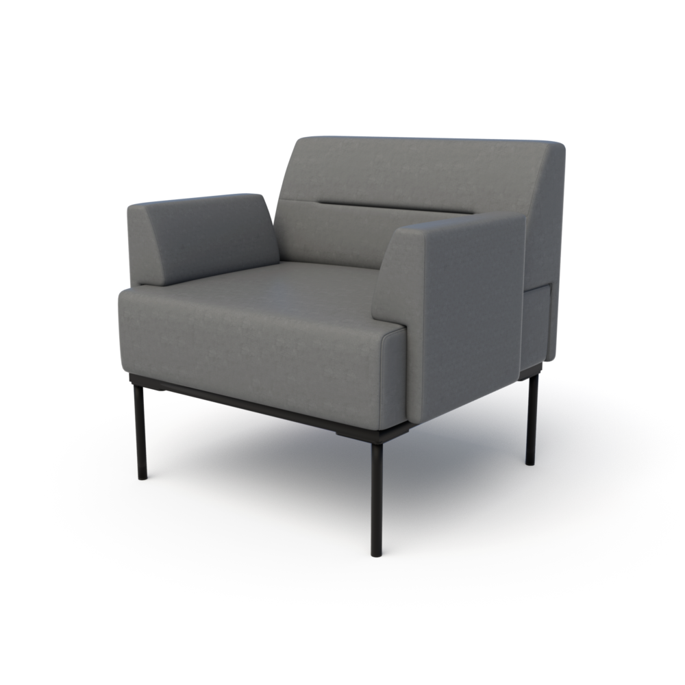 Mia Club Chair in Anchor with Arms