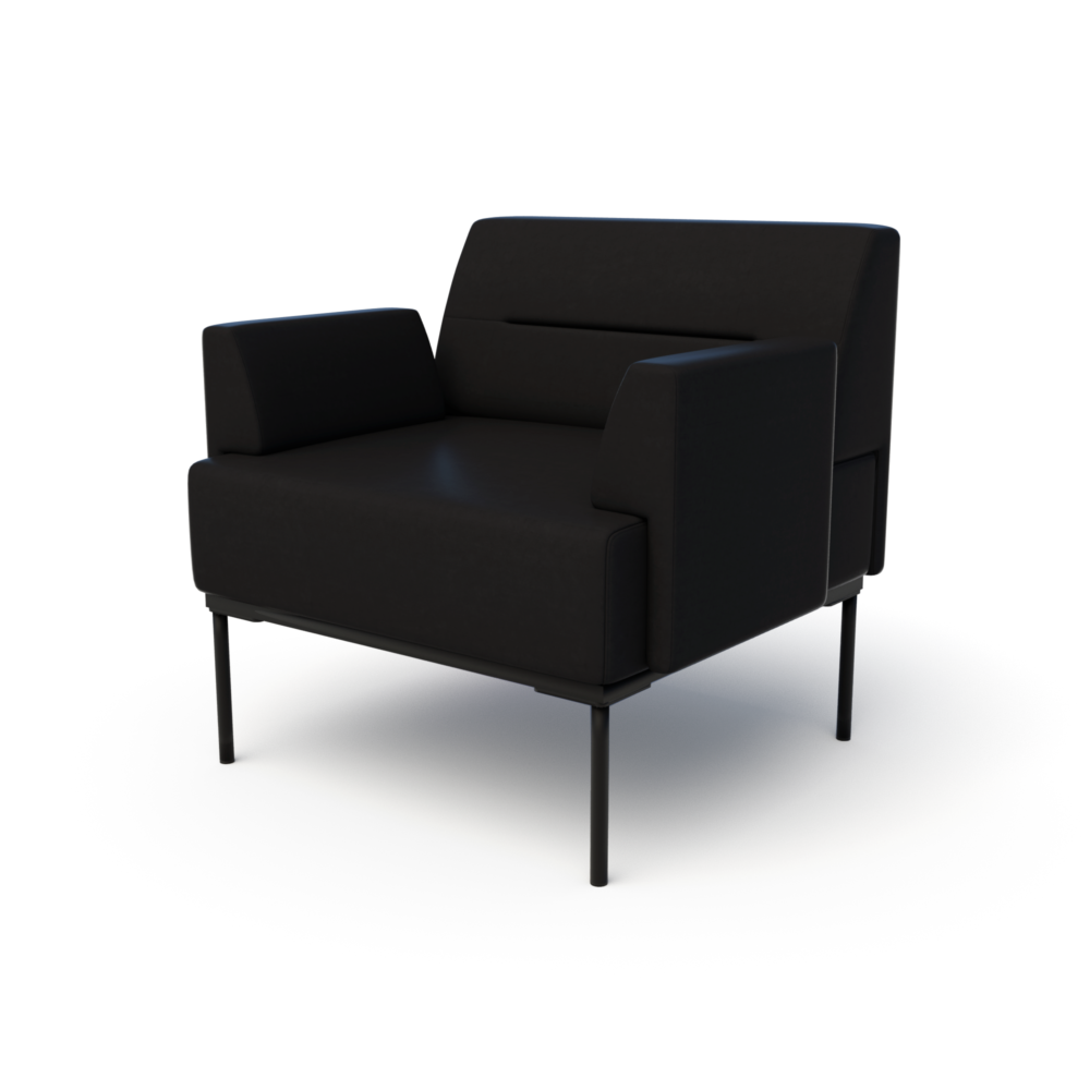 Mia Club Chair in Jet with Arms
