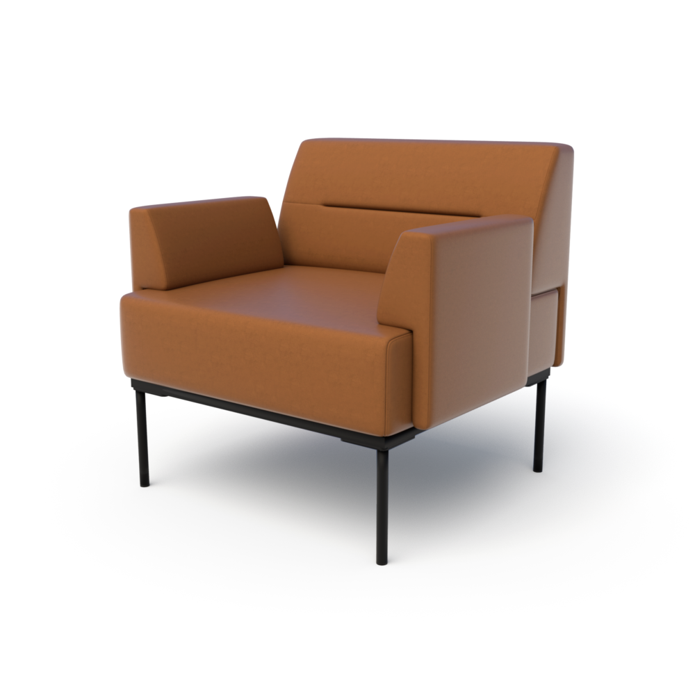 Mia Club Chair in Saddle with Arms