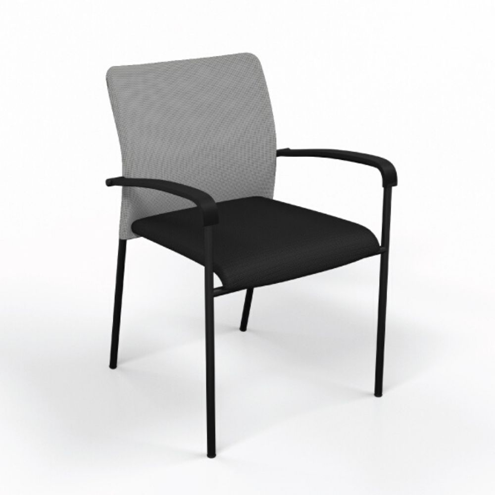 Match Chair in Black with Silver Mesh