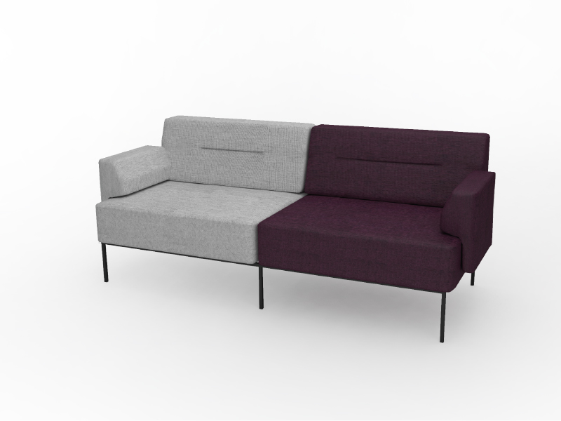 Mia Loveseat in Fog and Boysenberry