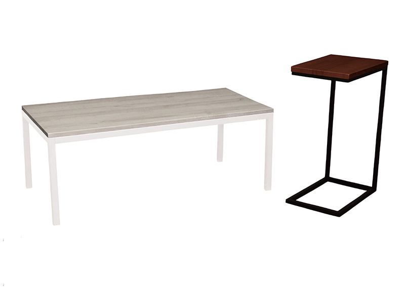 Mia Coffee Table in Cape Cod with White Base  |  Mia Espresso Table in Northwoods with Black Base