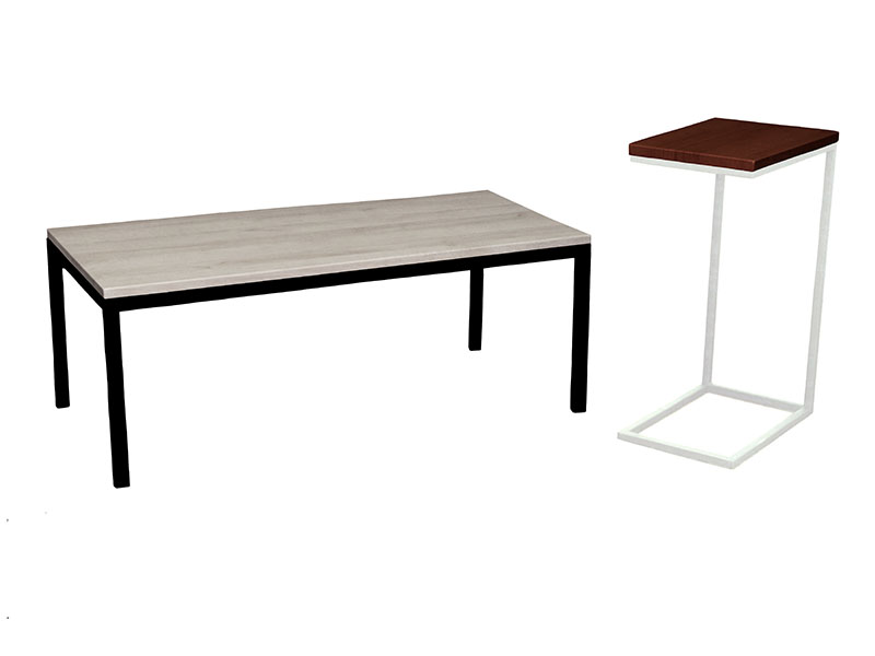 Mia Coffee Table in Cape Cod with Black Base  |  Mia Espresso Table in Northwoods with White Base