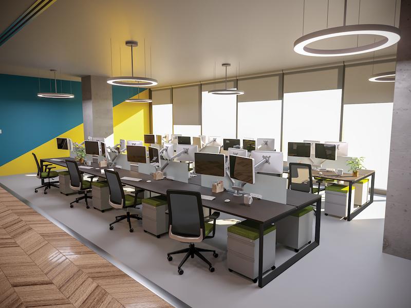 Pivit Open Frame Desking (Café/Black Base) | Bravo Task Chair (Flexi Green)