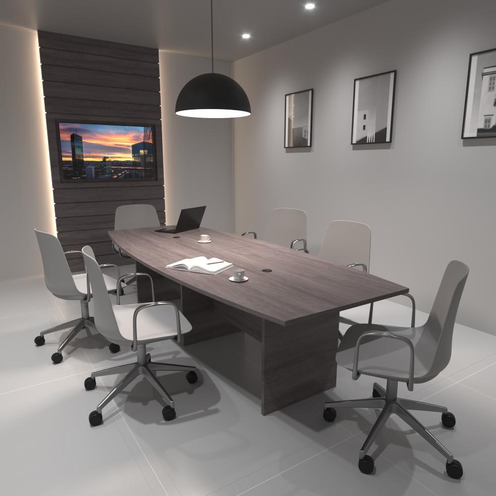 Sofie in Grey with Chrome 5-Star Base & Loop Arms | PIvit Boat Conference in Grey Ash