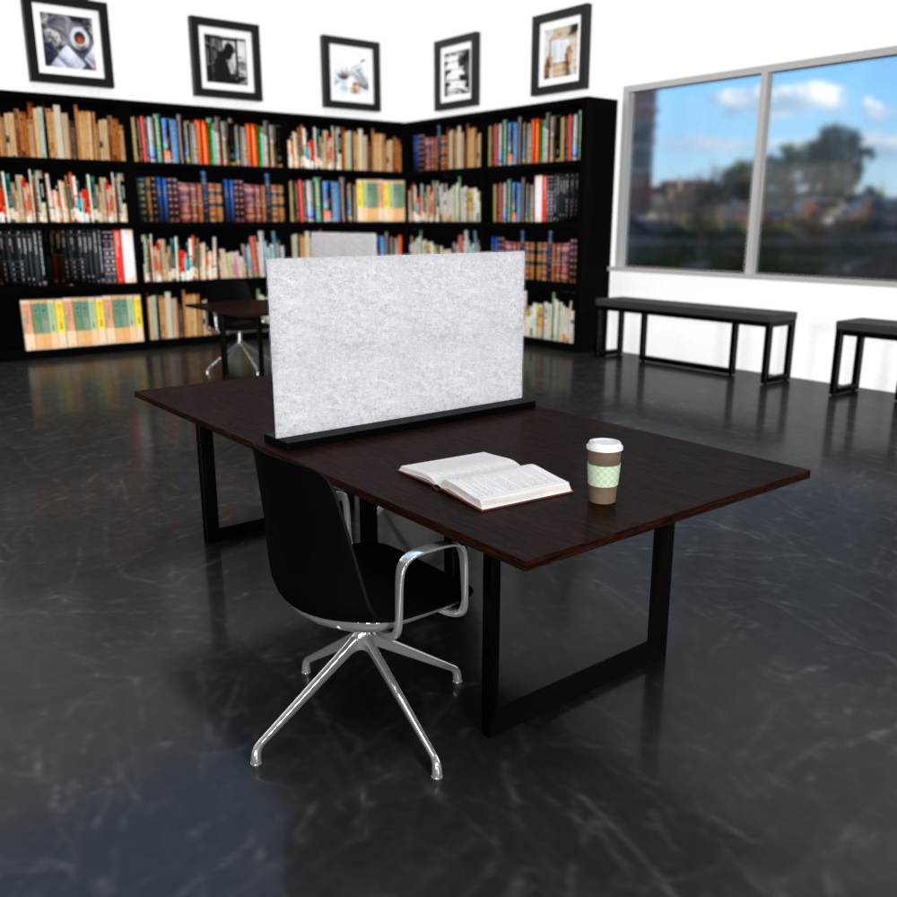 Sofie in Black with Chrome 4-Star Base & Loop Arms | Pivit Open Frame Table