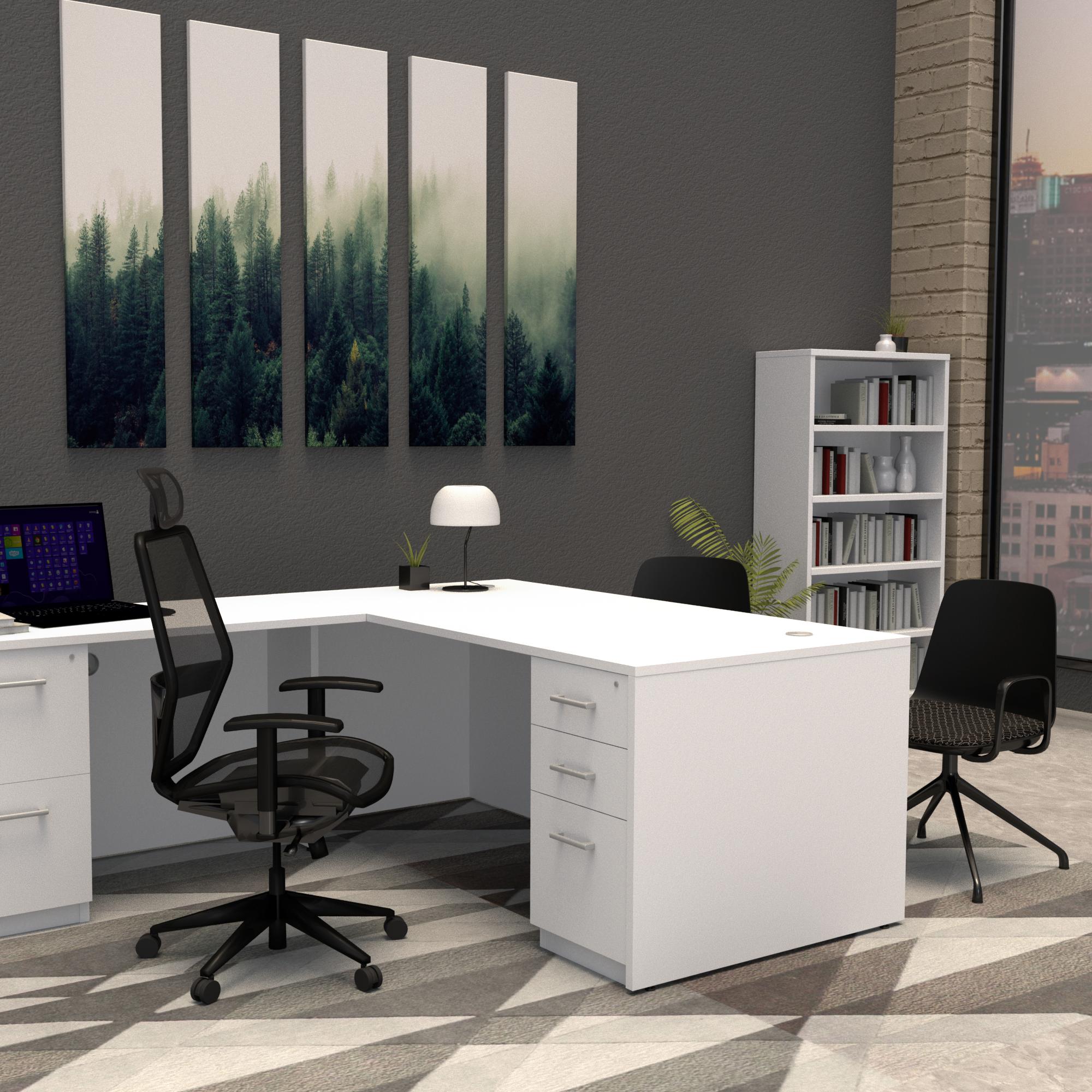 Pivit Full Panel Desk (White) | Net Task Seating | Sofie 4-star, black