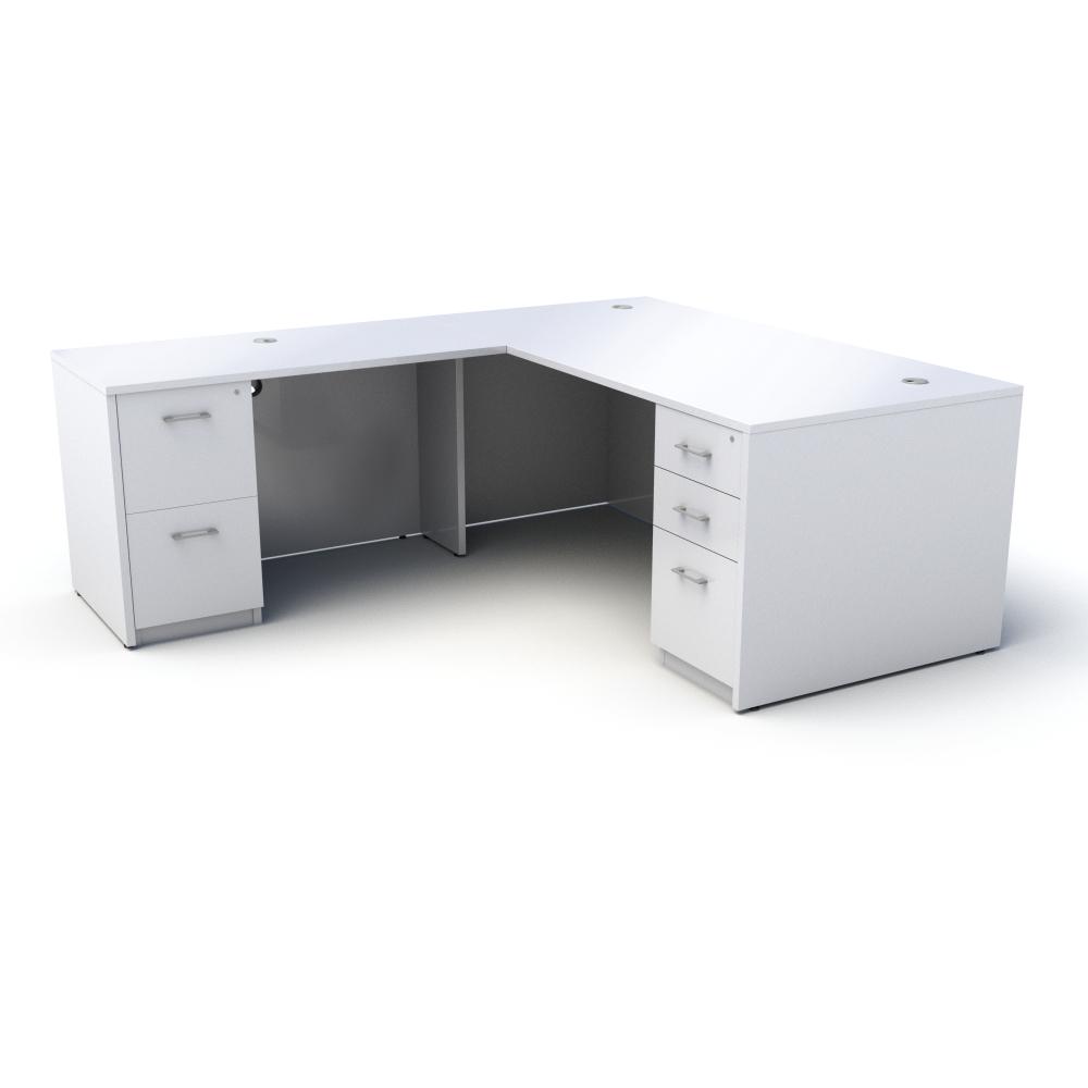 Pivit L-Shaped Desk in White