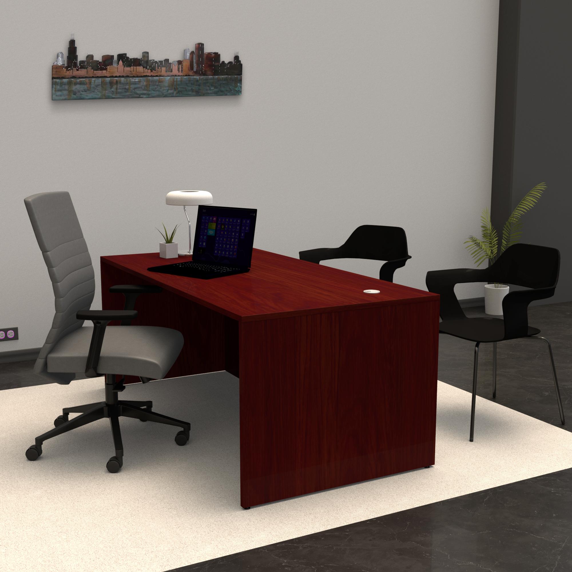 Pivit Full Panel Desk (American Cherry) | MaximLT Task Seating (Anchor) | Bardot Guest Chair (Vamp)