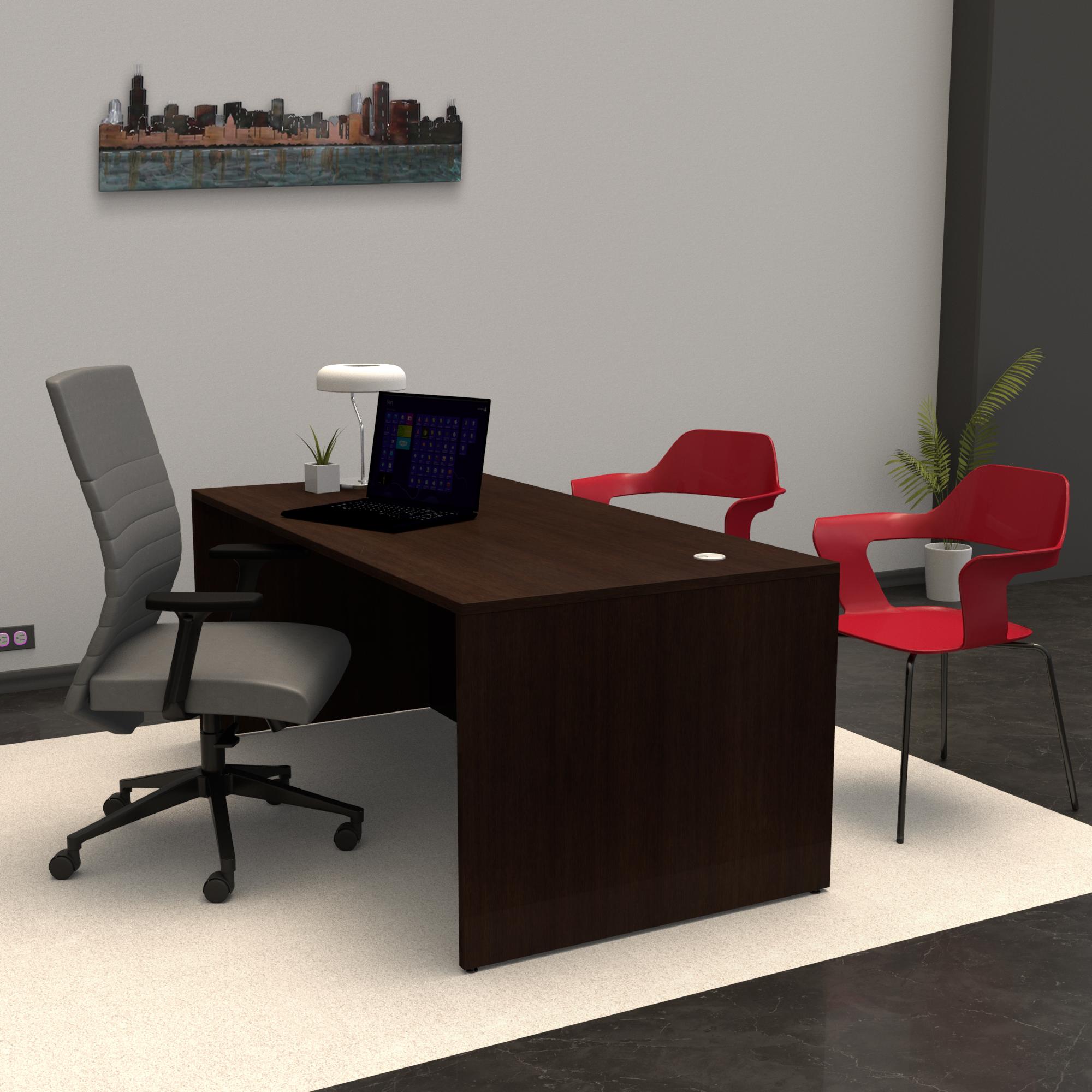Pivit Full Panel Desk (Cafe) | MaximLT Task Seating (Anchor) | Bardot Guest Chair (Siren)