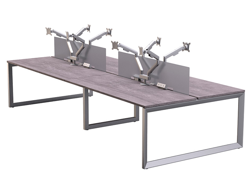 Pivit Benching (Grey Ash) | Dual Monitor Arms | Clamp-On Power