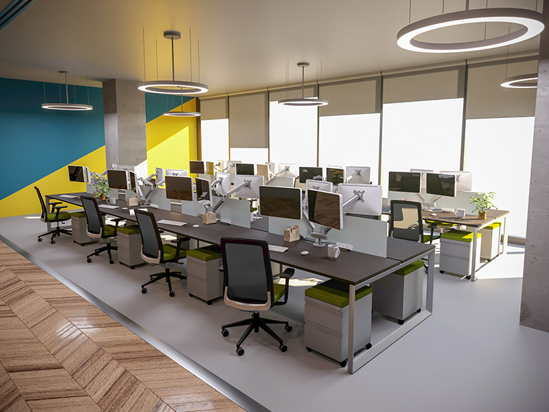 Pivit Benching (Cafe) | Dual Monitor Arms | Clamp-On Power | Bravo Task Seating (Flexi Green)