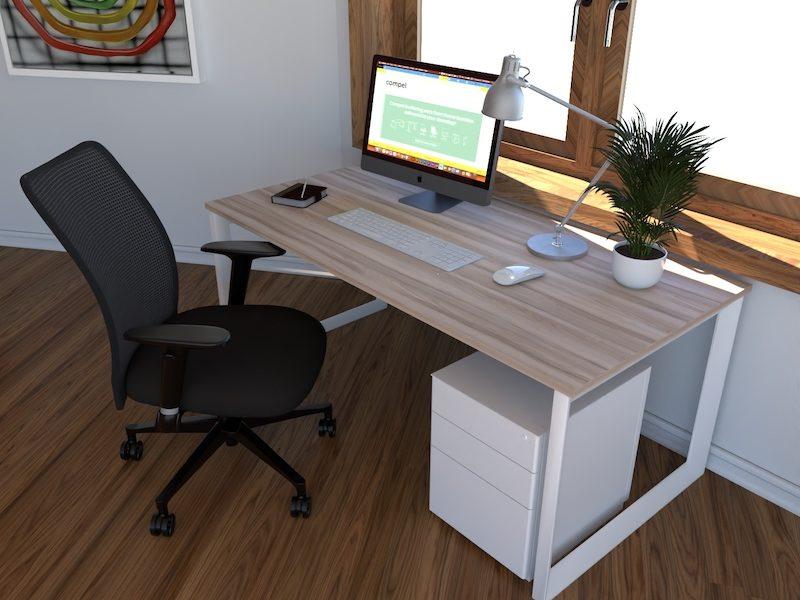 Pivit Open Frame Desk (Hackberry/White Base) | Argos Task Chair